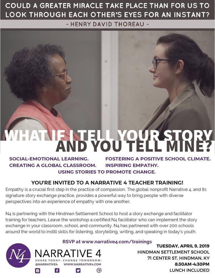 Narrative 4 Teacher Training @ Mullins Center - Hindman Settlement School | Hindman | Kentucky | United States