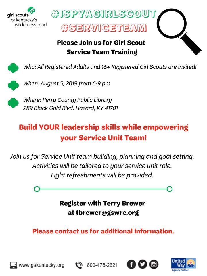 Perry County Area Service Unit Team Training - Girl Scouts @ Perry County Public Library | Hazard | Kentucky | United States