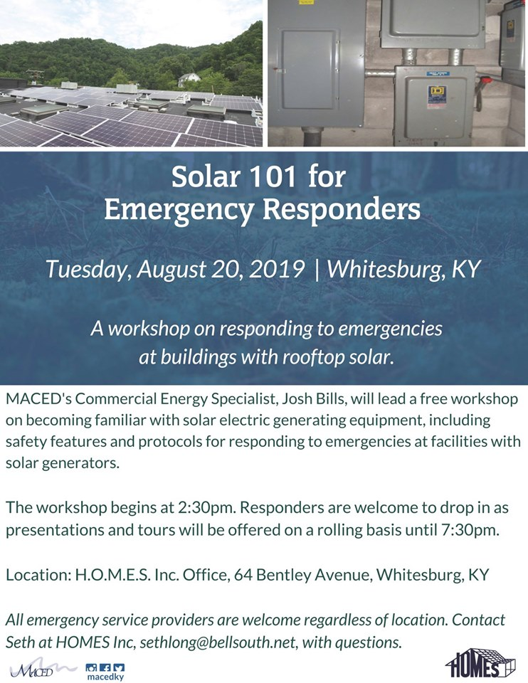 Solar 101 For Emergency Responders @ H.O.M.E.S. Inc - Whitesburg | Whitesburg | Kentucky | United States