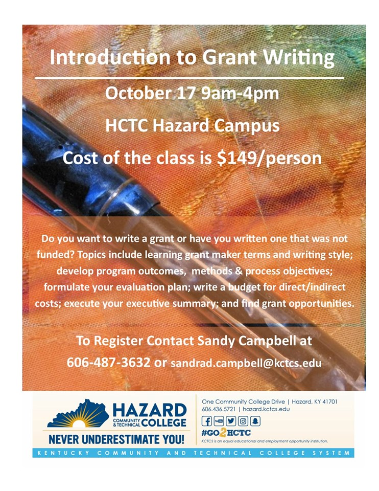 Introduction to Grant Writing - HCTC (Melissa Vermillion, Instructor) @ HCTC | Hazard | Kentucky | United States