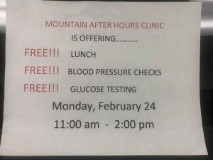 Free Lunch and Blood Pressure / Glucose Checks @ Mountain After Hours Clinic | Hazard | Kentucky | United States
