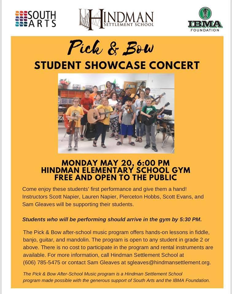 Pick & Bow Student Showcase Concert @ Hindman Settlement School | Hindman | Kentucky | United States